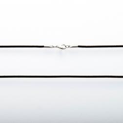 Collier en cuir noir, longueur 80 cm ø2mm