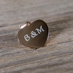 Pendentif coeur symétrique en argent sterling 925/1000 plaqué or rose