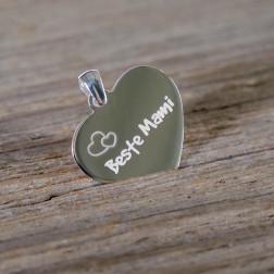 Pendentif coeur symétrique en argent sterling 925/1000